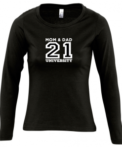 MAJESTIC camiseta de manga larga para mujer MOM & DAD 21 UNIVERSITY