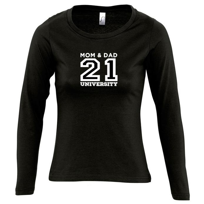 MAJESTIC camiseta de manga larga para mujer MOM & DAD 21 UNIVERSITY