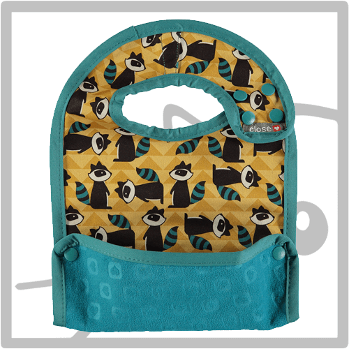 Raccoon L Babero con bolsillo reversible